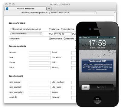 Historia zamówień i powiadomienia SMS
